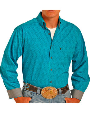 Tuf Cooper Performance by Panhandle Men's Paisley Printed Long Sleeve Shirt, Turquoise, hi-res