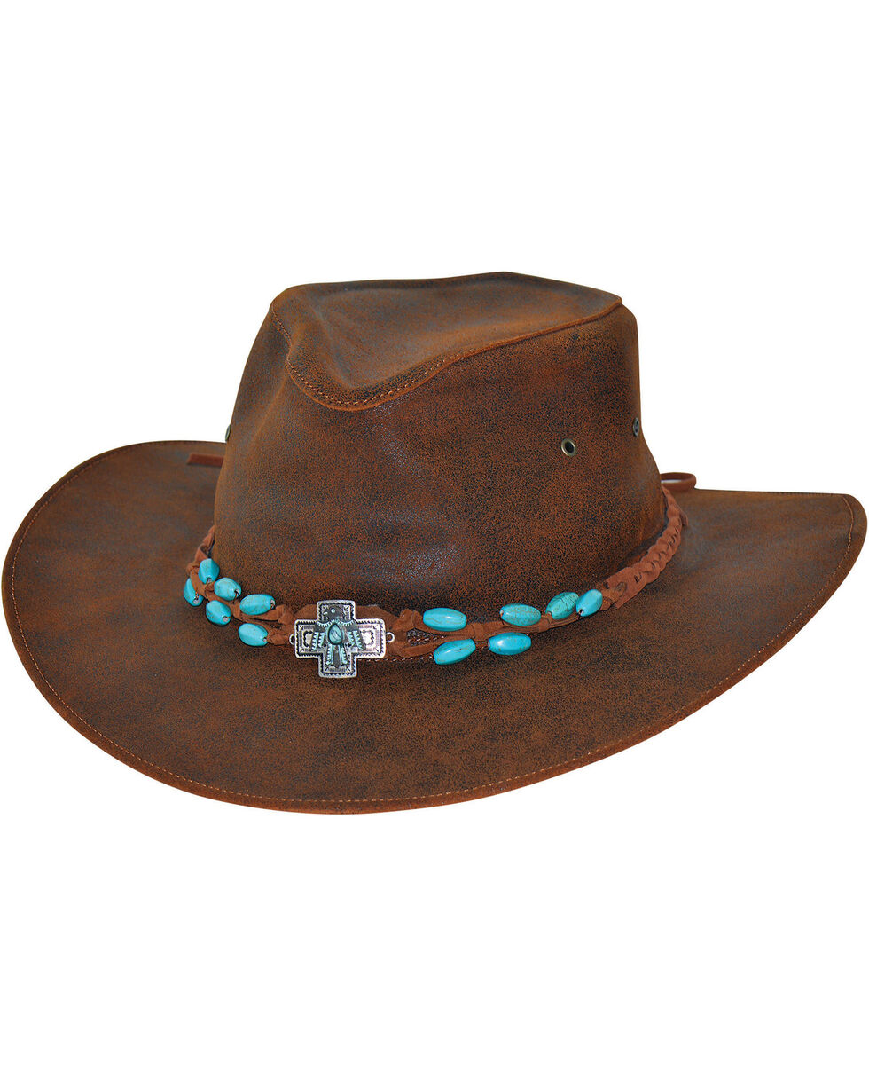 Bullhide Women's Brown Rusty Hope Leather Hat , Brown, hi-res