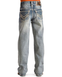 Rock & Roll Cowboy Boys' V-Stitch Light Wash Bootcut Jeans, , hi-res