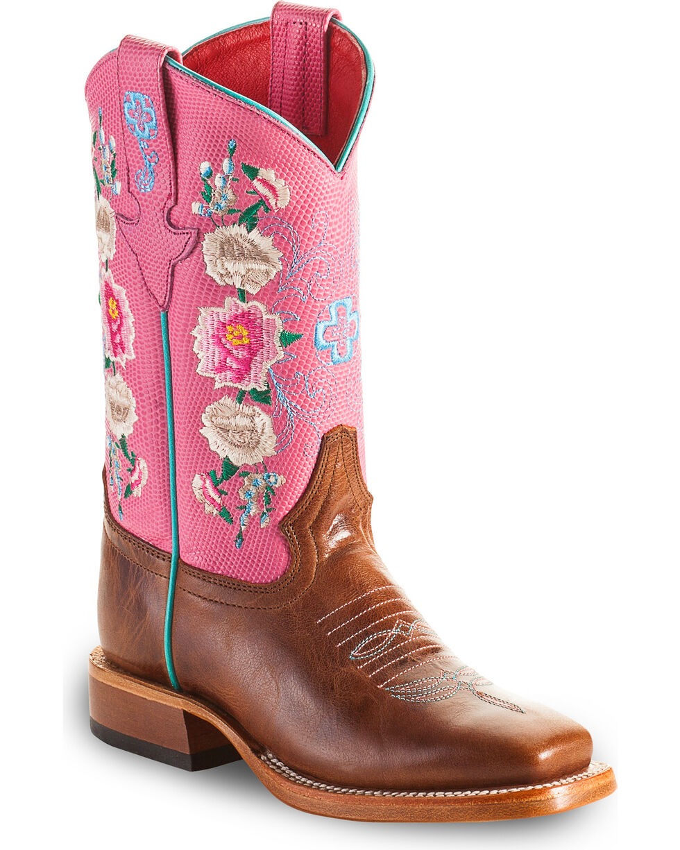 Macie Bean Girls' Pink Daisy Embroidered Boots - Square Toe , Tan, hi-res