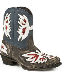 Roper Women's Pride Eagle Underlay Shorty Cowgirl Boots - Snip Toe, , hi-res