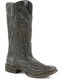 Roper Women's Black Stacie Western Boots - Square Toe , Black, hi-res