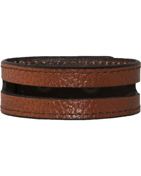 Stetson Tan Leather Cut-Out Wristband, Tan, hi-res