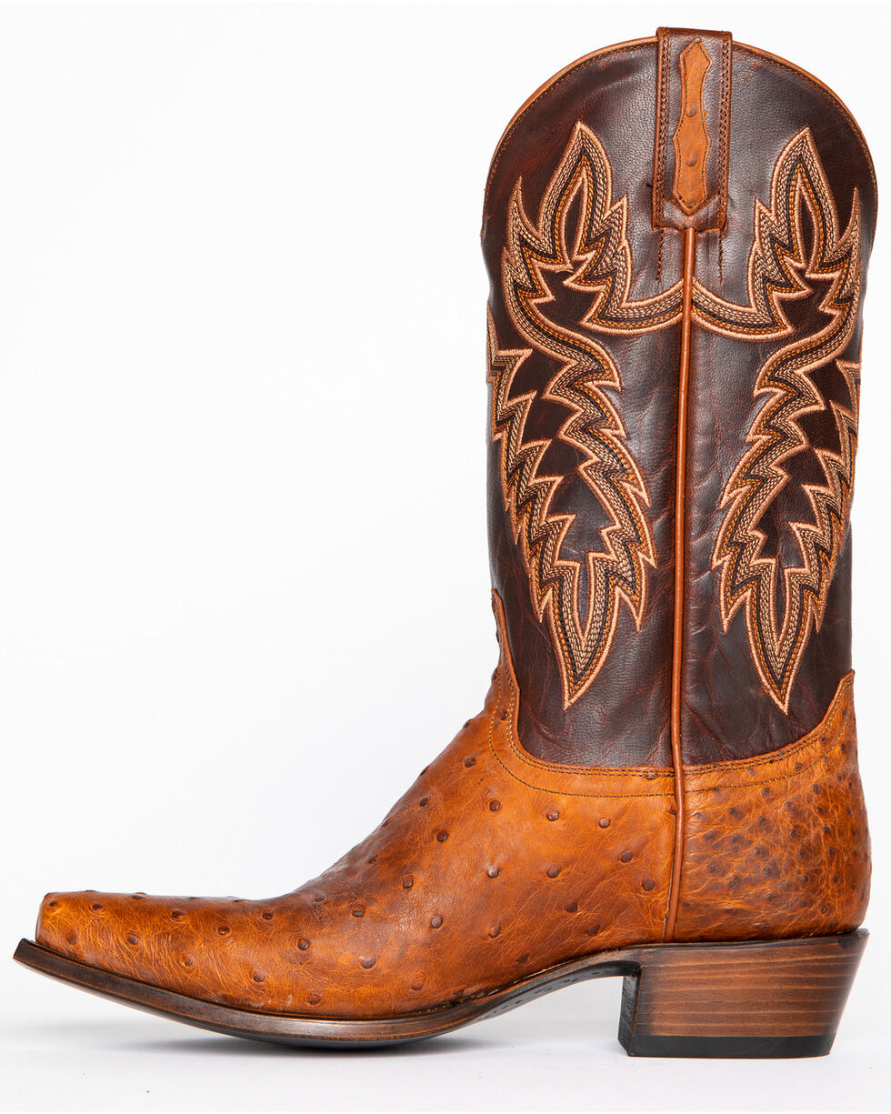 Cody James Men's Casey Full Quill Ostrich Exotic Boots - Snip Toe, Brown, hi-res
