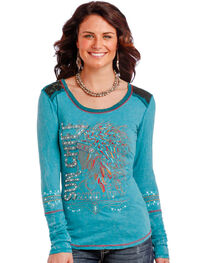 Panhandle Women's Turquoise Sun Chief Long Sleeve T-Shirt , , hi-res