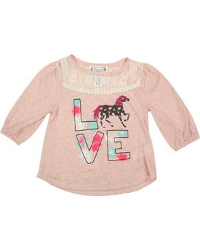Shyanne® Toddler Girls' Love Horses Long Sleeve Top, Pink, hi-res