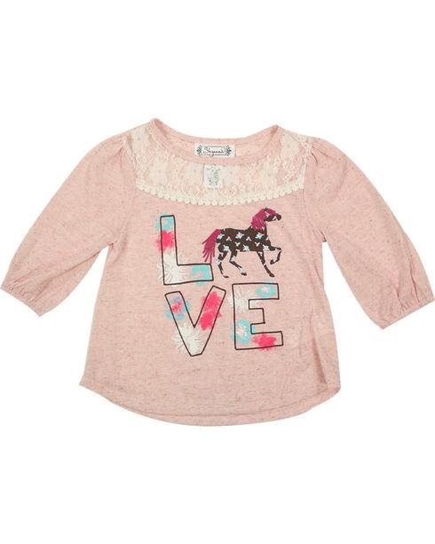 Shyanne® Toddler Girls' Love Horses Long Sleeve Top, Pink, hi-res
