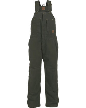 Berne Bark Original Washed Insulated Bib Overall - Short, Moss, hi-res