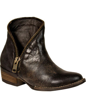 Corral Women's Zipper Ankle Boots - Medium Toe , Black, hi-res