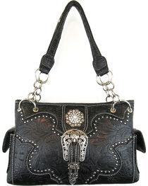 Savana Women's Black Concealed Carry with Tooled Design Handbag, , hi-res