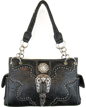 Savana Women's Black Concealed Carry with Tooled Design Handbag, Black, hi-res
