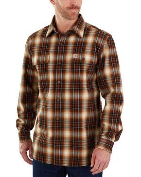Carhartt Men's Hubbard Plaid Long Sleeve Shirt - Big & Tall, Olive, hi-res