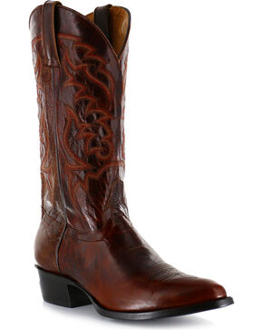 Moonshine Spirit Men's Narrow Round Toe Western Boots, Dark Brown, hi-res