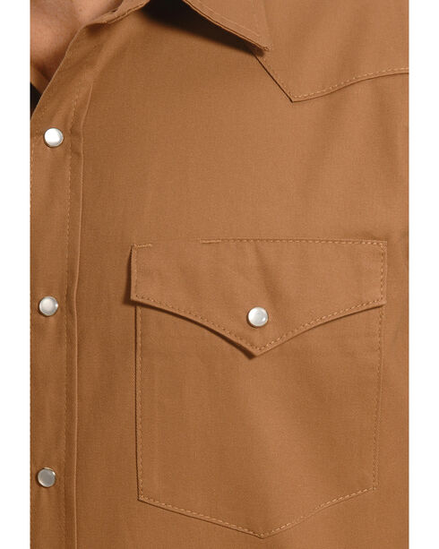 Crazy Cowboy Men's Tan Western Work Shirt - Big & Tall, Tan, hi-res