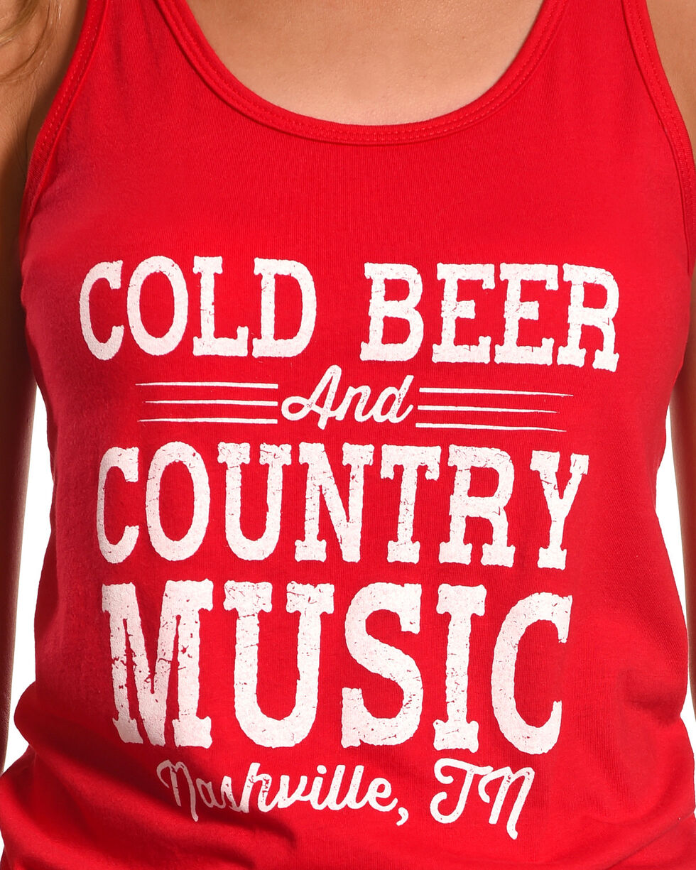 Ali Dee Women's Cold Beer And Country Music Tank Top, Red, hi-res