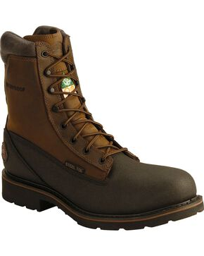 "Justin Men's 8"" Black Tec-Tuff Steel Toe Lace-Up Work Boots, Black, hi-res"