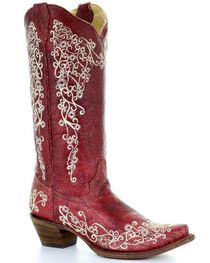 Corral Women's Embroidered Snip Toe Western Boots, , hi-res
