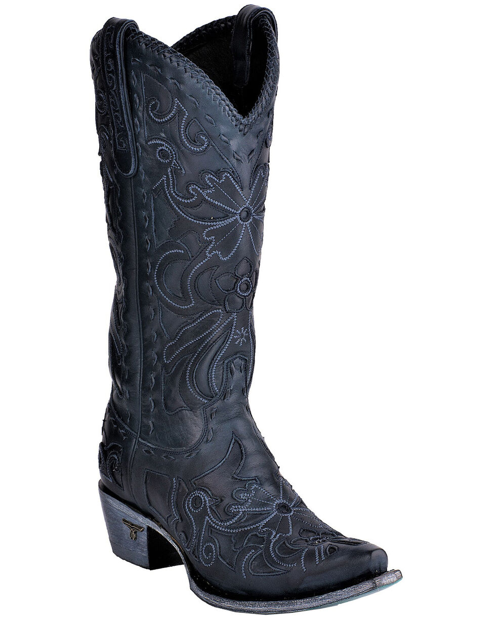 Lane Women's Robin Navy Cowgirl Boots - Snip Toe, Light Blue, hi-res