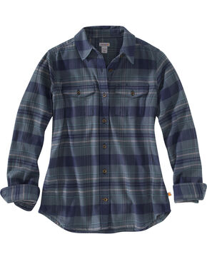 Carhartt Women's Hamilton Plaid Rugged Flex Long Sleeve Shirt, Green, hi-res