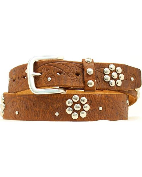 Nocona Floral Studded Belt, Brown, hi-res