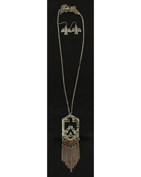 Blazin Roxx Beaded Thunderbird Necklace & Earrings Set, Multi, hi-res