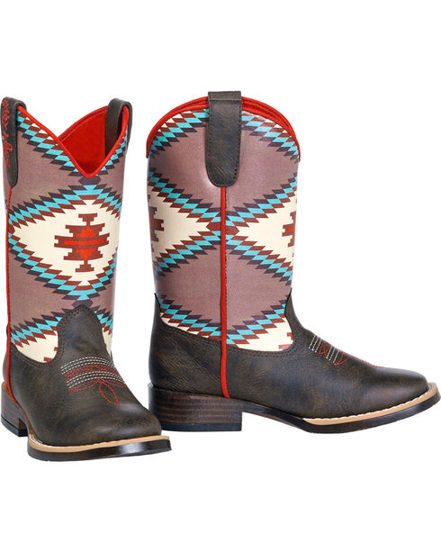 Blazin Roxx Girls' Brown Emily Southwest Cowboy Boots - Square Toe, Brown, hi-res