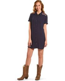 Miss Me Women's Navy Embroidered Shoulder Dress , , hi-res