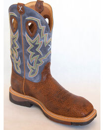 Twisted X Navy Lite Cowboy Work Boots - Soft Square Toe , , hi-res