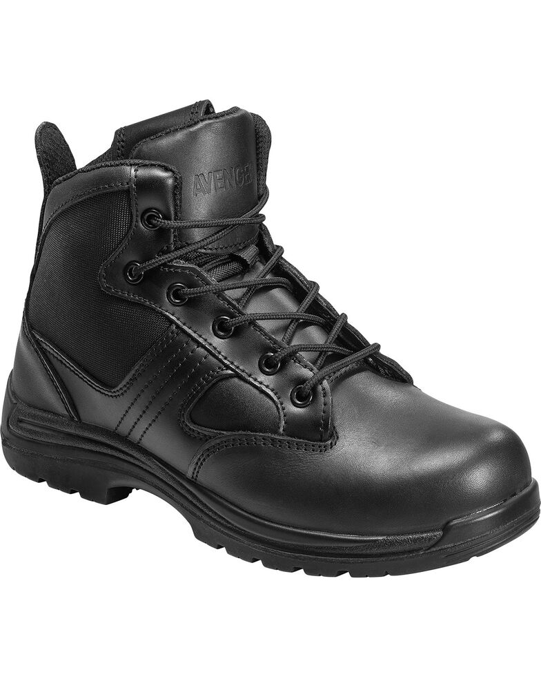 Avenger Mens Black Boot Boots Leather Nylon Safety Footwear 7418 Side Zip Comp Toe Duty