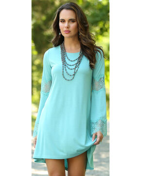 Wrangler Women's Aqua Bell Sleeve Fashion Dress, Aqua, hi-res