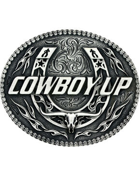 Montana Silversmiths Little Classic Impressions Cowboy Up Belt Buckle, Silver, hi-res