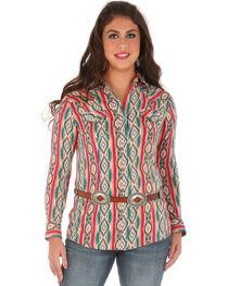 Wrangler Women's Long Sleeve Snap Aztec Print Shirt, , hi-res