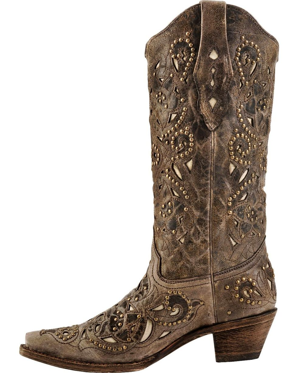 Corral Women's Stud and Inlay Western Boots, Brown, hi-res