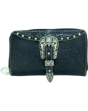 Savana Women's Embossed Trim Buckle Zip-Around Wallet, Black, hi-res