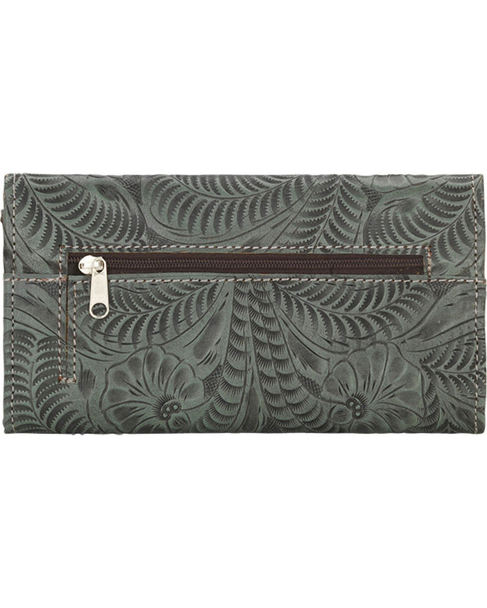American West Women's Tooled Tri-Fold Wallet, Turquoise, hi-res