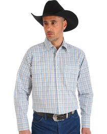 Wrangler Men's Wrinkle Resistant White Plaid Western Snap Shirt, , hi-res