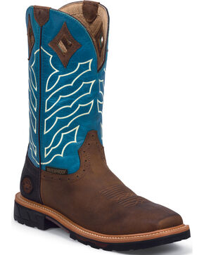 Justin Men's Wyoming Square Toe Hybred Waterproof Work Boots, Peanut, hi-res