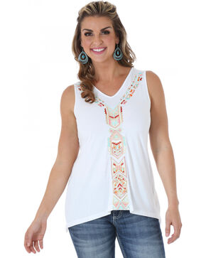 Wrangler Women's Embroidered Aztec Tank Top, Ivory, hi-res