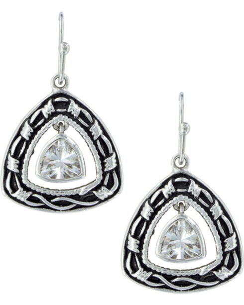 Montana Silversmiths Women's Barbed Wire Trillion Earrings , Silver, hi-res