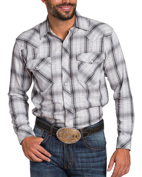 Resistol Double R Men's Glenrock Plaid Long Sleeve Shirt, White, hi-res