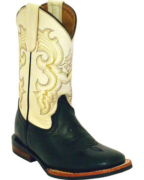 Ferrini Kids' Cowhide Black Western Boots - Square Toe, Black, hi-res