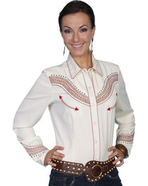 Scully Fancy Embroidered Yoke Long Sleeve Top, Cream, hi-res