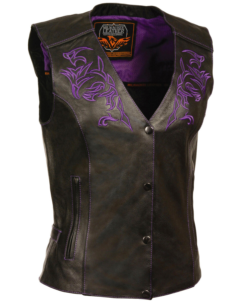 Milwaukee Leather Women's Reflective Tribal Design Vest - 5X, , hi-res