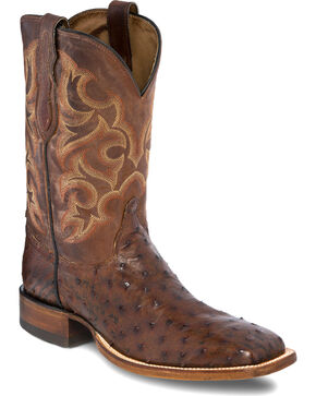 Justin Men's Lavaca Ostrich Exotic Boots, Chocolate, hi-res
