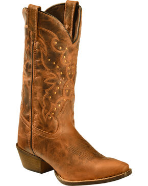 "Rawhide Women's 12"" Scalloped Top Studded Western Boots, Tan, hi-res"