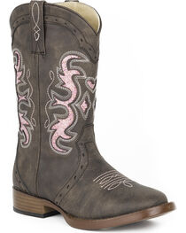 Roper Girls' Brown Lexi Western Boots - Square Toe , , hi-res