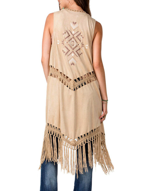 Miss Me Women's Run Wild Fringe Fashion Duster, Taupe, hi-res