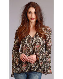 Stetson Women's Bell Sleeve Floral Print Peasant Top, , hi-res