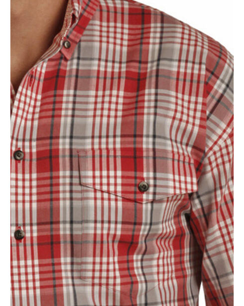 Panhandle Men's Poplin Twill Plaid Shirt , Red, hi-res