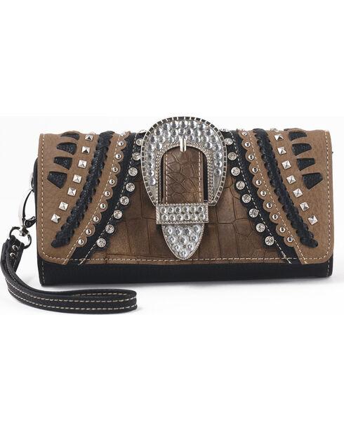 Shyanne Women's Buckle Whipstitch Zip Wallet – Khaki, Black, hi-res